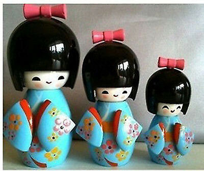 1 Sets 3pcs KOKESHI ORIENTAL JAPANESE WOODEN DOLLS -Blue