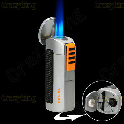 COHIBA Exquisite Silver Metal 3 Torch Jet Flame Cigar Lighter With Punch