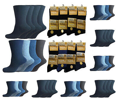 12 Pairs Mens Non Elastic Socks 100% Cotton Loose Soft Top Diabetic 6-11 Adults