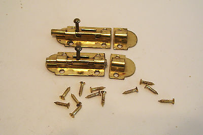 Pair Cabinet Door Sliding Latches Brass-Plated with Screws - Japan