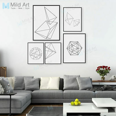 Modern Black White Geometic Shape A4 Art Print Poster Canvas Painting Home Decor