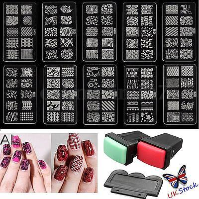 Manicure Gel UV Polish Nail Art Scraper Stamper Stamp Acrylic Template Kits UK