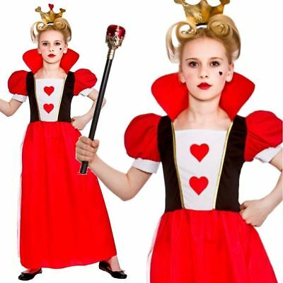Child Kids Girls Queen Of Hearts Alice Outfit Fancy Dress Costume Book Week