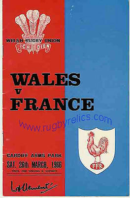 WALES v FRANCE 1966 RUGBY PROGRAMME 26 Mar at CARDIFF - GOOD CONDITION