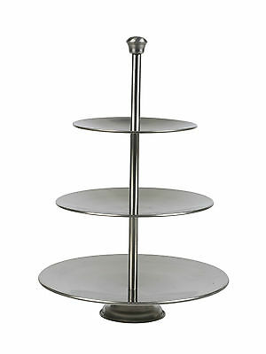 3 Layer Tier Stainless Steel Round Serving Display Cakes Platter Food Stand Rack