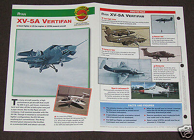 RYAN XV-5A VERTIFAN V/STOL Airplane Helicopter Photo Spec Sheet Booklet Brochure
