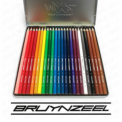 Bruynzeel MXZ - 24 Colouring Pencils - In a Silver Metal Tin