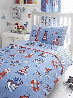 Blue & Red Boat Ship Yard Nautical Cot Bed / Junior Bed Duvet Cover Bedding Set
