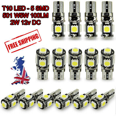 Car Side Light Bulbs Canbus Error Free T10 501W5W 8 Smd Led Xenon Ice Blue/white