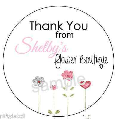 Customized Business Thank You Sticker Labels  - Flower Patch Style #5