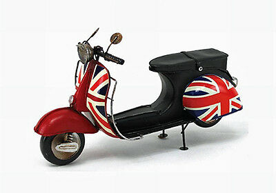 Vintage Red Scooter With Union Jack Gift Idea Tin Plate Model Ornamental