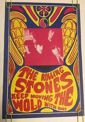 The Rolling Stones Vintage Poster Psychedelic Keep Moving the Wold w/ Ruby Konst