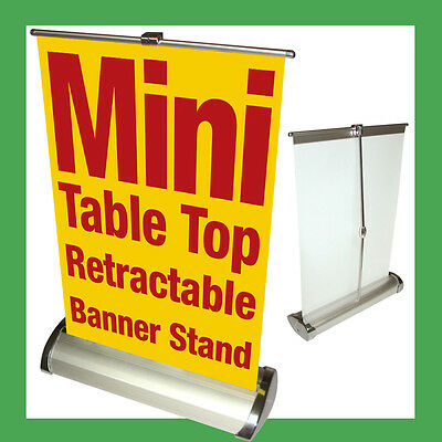 CUSTOM Mini A4 Table Top Retractable Banner Stand 8.25x12.25 w/ Banner Printing