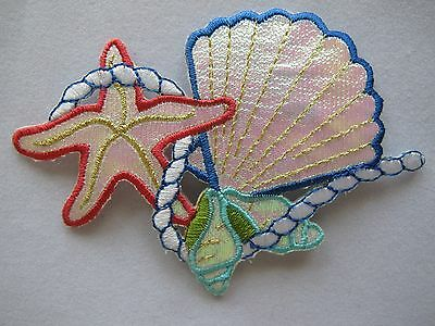 #4209 Starfish,Clam,Conch w/Rope Embroidery Iron On Applique Patch