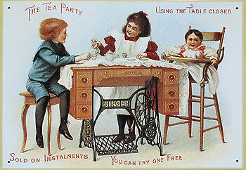 NEW Singer Tea Party Nostalgic Reproduction Sewing Tin Sign