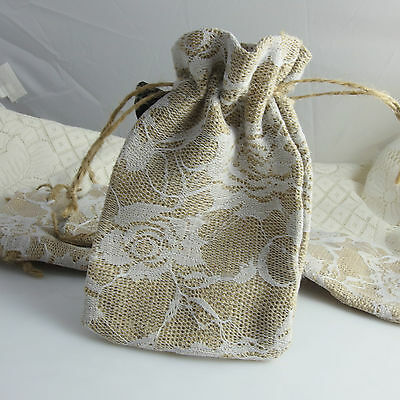 One Rustic Drawstring White Lace Cover Hessian Jute Pouch Gifts Bag 9 x 14 cm