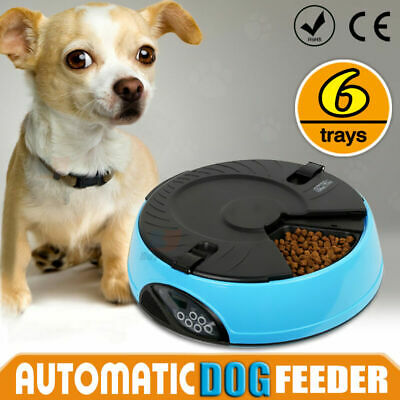 AUTO Pet Feeder Dispenser Food Bowl Dog Cat 6 Meal Automatic Program Digital LCD