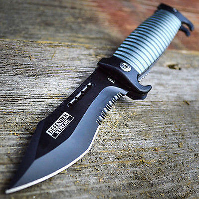COMBAT BLACK Spring Assisted Open SAWBACK BOWIE Tactical Rescue Pocket Knife