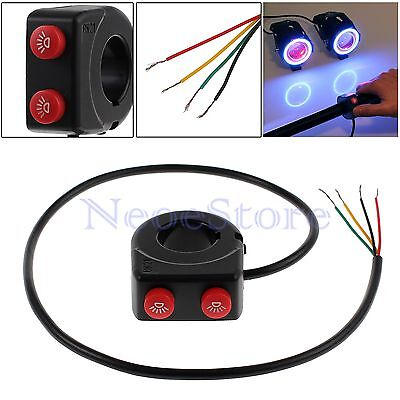 """2in1 7/8"""" Dirt Pit Bike Motorcycle Handlebar On Off Kill Stop Button Switch UK"""