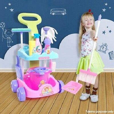 Kids Toy Fun Cleaning Tools Trolley Pretend Play Set with Mop, Broom, Duster