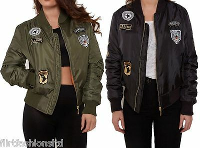 Womens Classic Retro Harrington Biker Jacket MA1 Army Badges Vintage Bomber Coat