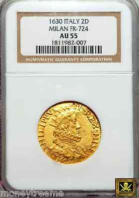Italy Milan Philip Iv Of Spain Gold Quadrupla (2 Doppie) Coin 1630 Ngc Au55 3 Kn