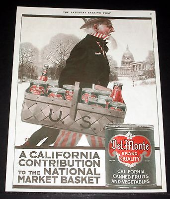 1918 Old Magazine Print Ad, Del Monte, A California Contribution To The Nation!