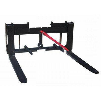 "Titan Skid Steer 42"" Pallet Fork 49"" Hay Bale Spear Trailer Hitch Attachment"