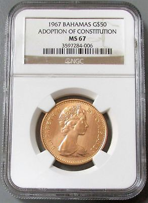 1967 Gold Bahamas $50 Constitution Ngc Mint State 67 Only 1,000 Minted