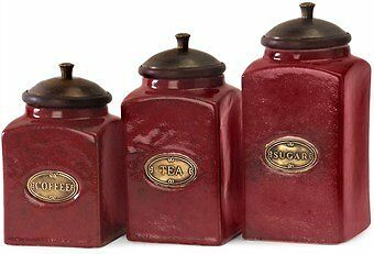 Imax Red Ceramic Canisters, Set Of 3