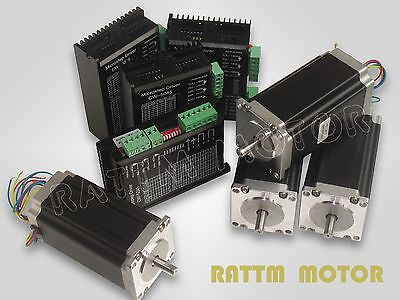 4PCS NEMA23 425oz-in stepper motor&driver with 256 microstep and 4.5A current!