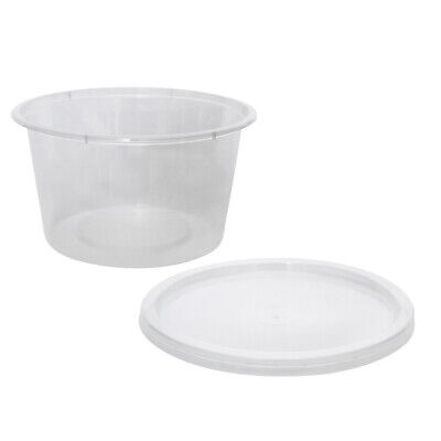 500x Clear Plastic Container with Flat Lid 450mL Round Disposable Rice Dish