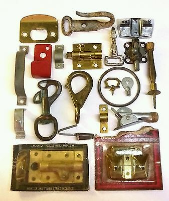 Old Vtg Brass Metal Junk Drawer Hardware Hook Latch Bracket Lot