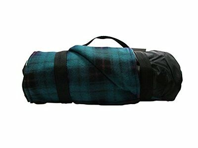 Cozy Fleece Picnic Outdoor Blanket With Teal Plaid