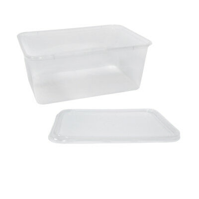 50x Clear Plastic Container w Flat Lid 1000mL Rectangle Disposable Chinese NEW