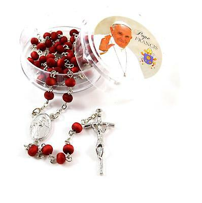 Pope Mary prayer Rose Scented wood Rose Petal Rosary beads Pope Francis Box