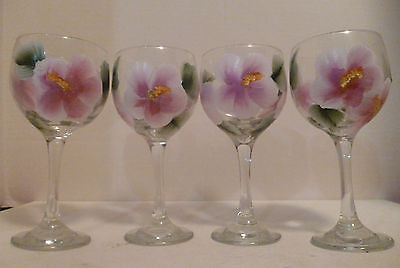 Pink Hibiscus Flower Wine Glasses Hand Painted By Mary Wilson Set Of