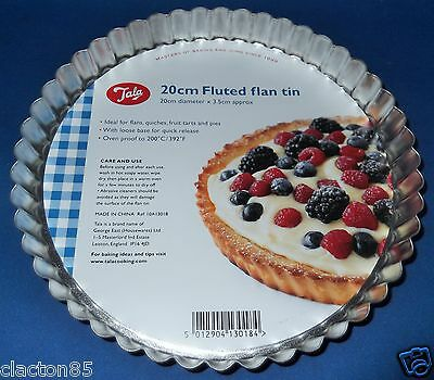 TALA 20cm x 3.5cm FLUTED FLAN QUICHE TART PIE QUICK RELEASE LOOSE BASE TIN