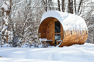 Barrel Sauna,Red Cedar,Front Porch,Electric Heater, 8 Feet, Fits 4+2 (BRT-68P-C)