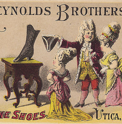 Reynolds Fine Shoes 1800's  Joslyn West Winfield NY Vintage old Advertising Card