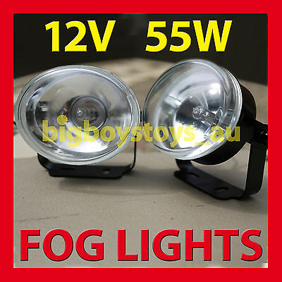 UNIVERSAL FOG LIGHTS DRIVING LIGHT OVAL 12V 55W * CLEAR LENS * daytime running