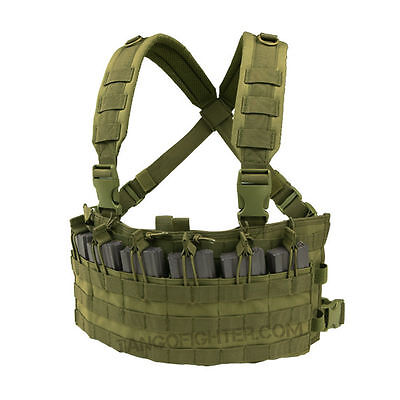 CONDOR MCR6 RAPID MOLLE Assault Chest Rig Vest 6 Open-top 5.56mm Mag Pouch OD