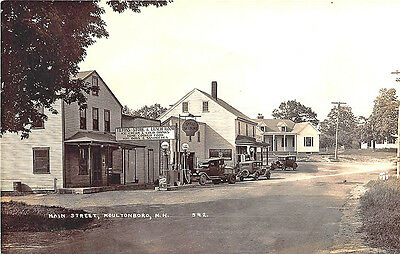 Moultonboro NH Shell Gas Station Old Cars Truck Grocery Store RPPC Postcard