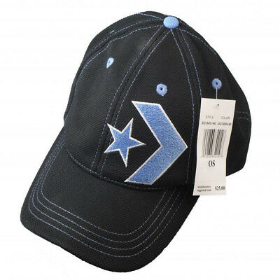 Converse black blue adults polyester peaked fitted basketball cap one size