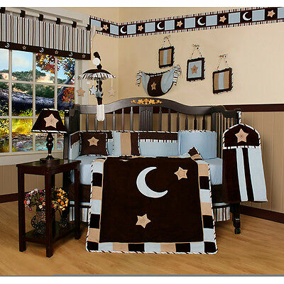 Geenny Blue Moon and Star 13-piece Crib Bedding Set