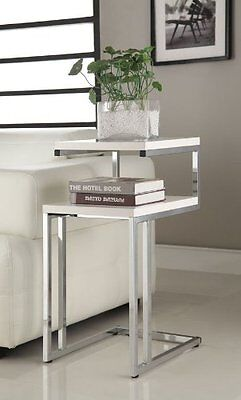 White Finish Chrome Chair Side End Snack Table by eHomeProducts Wood and Metal