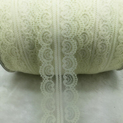 New 10 Yards Cream Bilateral Handicrafts Embroidered Net Lace Trim Ribbon #BC08