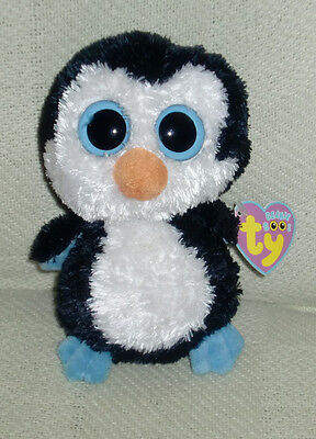"Ty Beanie Baby Boo Boos Stuffed Plush Waddles Penguin 2009 6"" Big Blue Eyes Nwt"