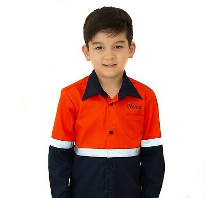 Kids Hi Vis Shirt Long Sleeve with Reflective Tape in Pink Yellow Orange