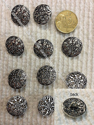 10 x METAL BUTTONS with ANTIQUE CELTIC SILVER DESIGN  - 18mm  - #B917